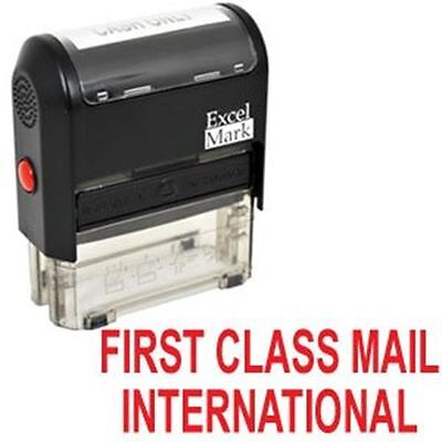 First Class Mail International Self Inking Rubber Stamp   Red Ink  42A1539web R