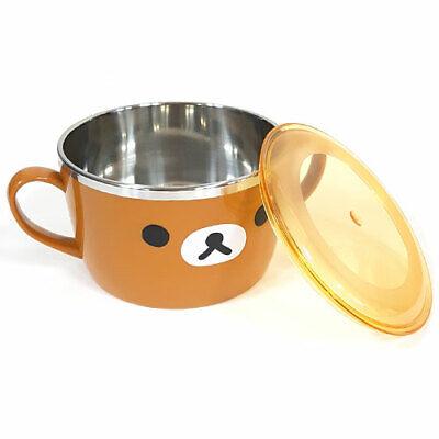 Rilakkuma Face Brown Stan Ramen Noodle Pot Cute bear Character 630ml, 21Oz