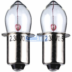 CLEAR PRE FOCUS 2.4v TORCH LIGHT BULB TWIN PACK 500mA Flange Fitting