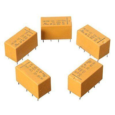 5 Pcs Dc12v Shg Coil Dpdt 8 Pin 2no 2nc Mini Power Relays Pcb Type Hk19f Yellow