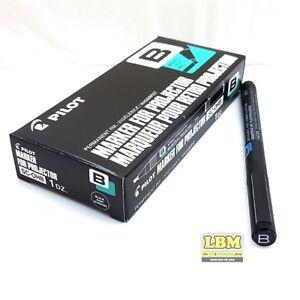 12 x Pilot OHP Permanent Marker Pens Broad Chisel Tip Black Ink SC-OHB-B