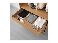 3 x Ikea Pax Wardrobe KOMPLEMENT Drawer Units Oak W100cm x D58cm