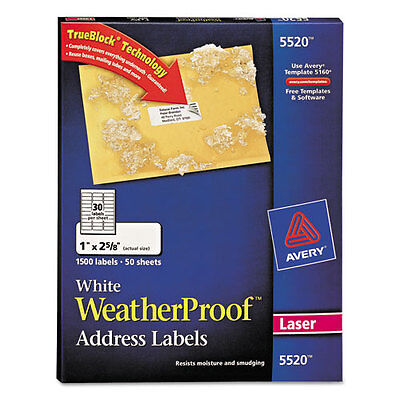 Avery White Weatherproof Laser Shipping Labels 1 X 2-58 1500pack - Ave5520