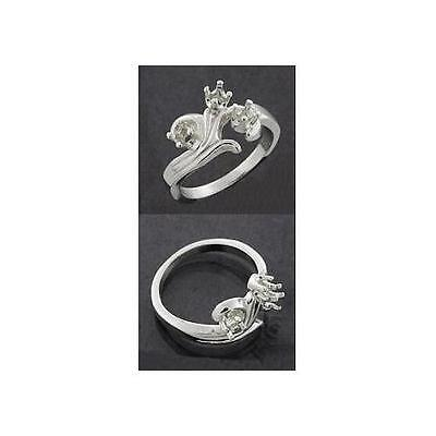 (3mm) Round (3) Stone Fleur Sterling .925 Mothers Ring Setting (Ring Size 7 -