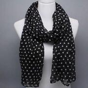 Black and White Polka Dot Scarf