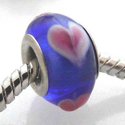 Glas Bead Herz Glasperlen Herzperle 13mm Großlochperle blau -543