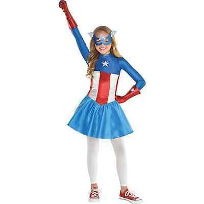 Captain America Dream Girl Klassisch Kinder Kostüm Größe 3T-4T Marvel Comics 328