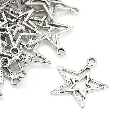 Packet 20 x Antique Silver Tibetan 23mm Star Charm/Pendant ZX00145