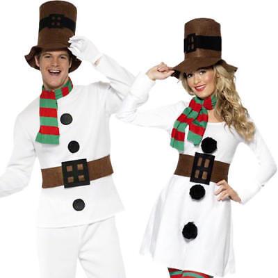 Mr & Miss Snowman Adults Fancy Dress Christmas Winter Wonderland Festive Costume (Winter Wonderland Fancy Dress Kostüme)