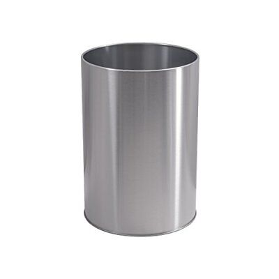 Heavy-Duty Brushed Nickel Finish Round Waste Basket Trash Can Bathroom