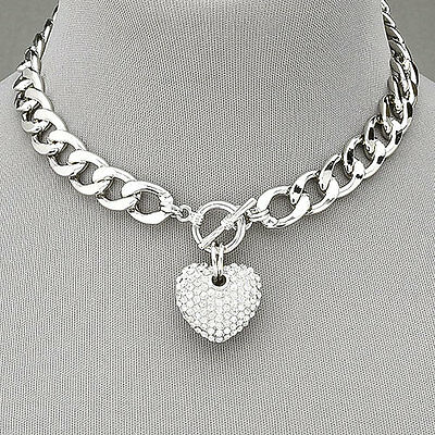 Silver Chain Choker Style Necklace With Paved Rhinestone  Heart Pendant