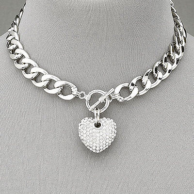 Jewellery - Silver Chain Choker Style Necklace With Paved Rhinestone  Heart Pendant