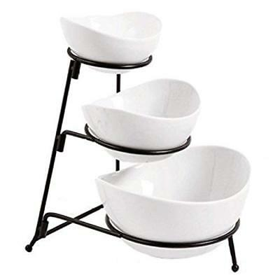 3 Tier Oval Bowl Set with Metal Rack White Party Food Server Display Set