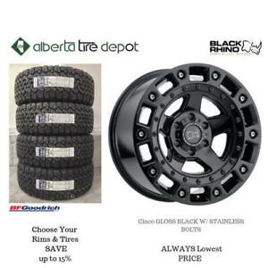 OPEN 7 DAYS LOWEST PRICE Save Up To 10% Black Rhino Cinco Gloss Black With Stainless Bolts. Alberta Tire Depot