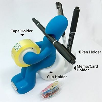 The New Blue Butt Station - Desk Accessory Tape Dispenser Pen Memo Holder Clip