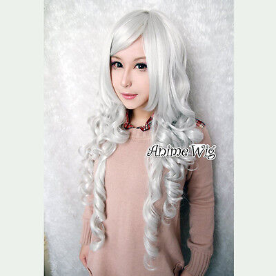 Angel Sanctuary Rosiel Lolita Cosplay Wig Haare Party Perücke Gelockt Weiß 80cm (Angel Sanctuary Cosplay)