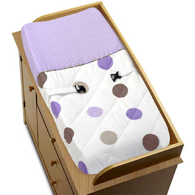 Sweet Jojo Changing Table Pad Cover for Purple Brown Mod Dots Baby Bedding Set