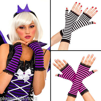 Punk Goth Opaque Striped Fingerless Gloves Halloween Witch Costume Arm Warmers](Witches Glove)