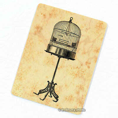 Birdcage on Stand Deco Magnet, Decorative Fridge Décor Antique Illustration Gift