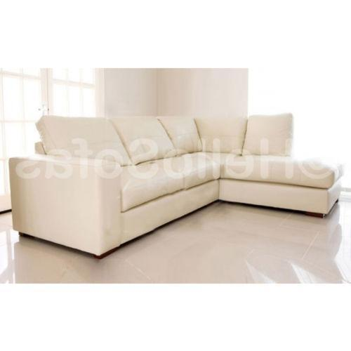 leather corner chaise sofa ebay. Black Bedroom Furniture Sets. Home Design Ideas