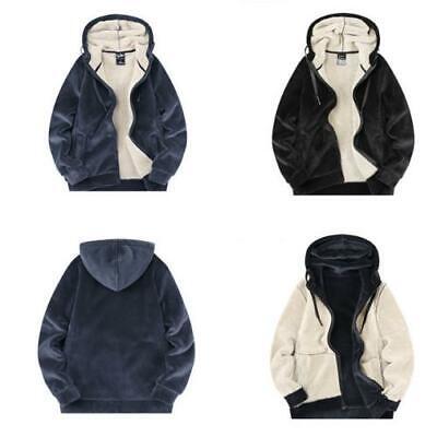Winter Men/'s Cardigan Sweater Faux Fur Lining Hoodie Leisure Sport Thick Coat D