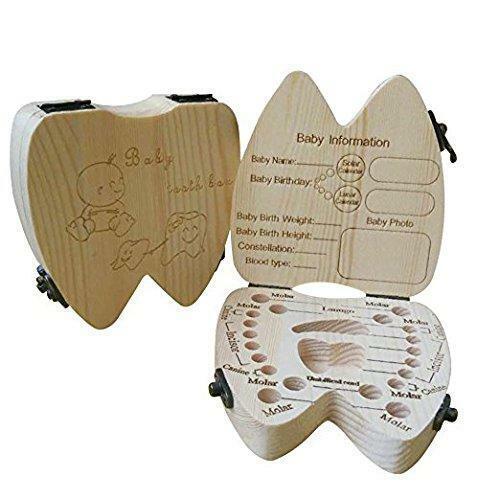 COCODE Wood Milk Tooth Keepsake Box Baby Children Save Teeth Storage Holder