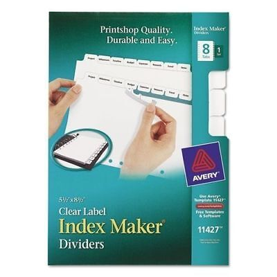 Avery Mini Index Maker Clear Label Dividers With White Tabs 5.5 X 8.5 11427