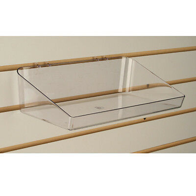Slatwall Acrylic Tray Bin 11 L X 6 D - Clear - Also Fits Pegboard - 5 Pieces