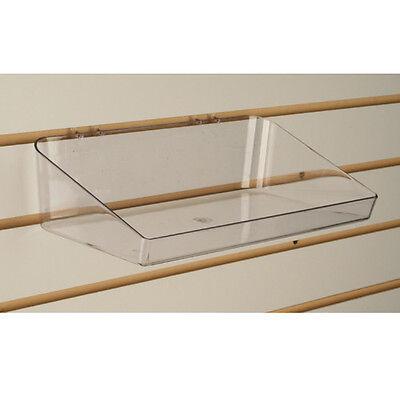 Slatwall Acrylic Tray Bin 11 L X 6 D - Clear - Also Fits Pegboard - 5 Pieces