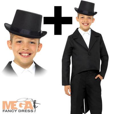 Black Tailcoat + Top Hat Kids Fancy Dress Showtime Boys Girls Childs Costume - Black Top Hats Kostüm