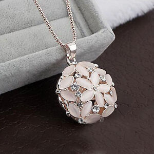 Elegant Chic Lady Opal Flower Round Pendant Long Chain Sweet Necklace Jewellery