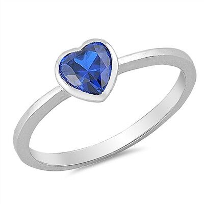 .925 Sterling Silver Heart Cut Simulated Sapphire CZ Promise Ring Size 2-10 NEW Simulated Sapphire Heart Ring