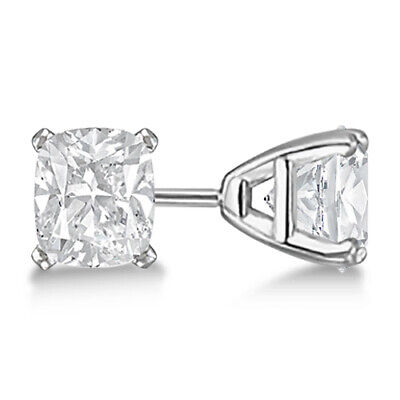 0.75ct Modern Cushion Cut Diamond Studs Earring 14K White Gold G-H VS-SI