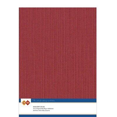 (EUR 4,81/m²) Leinenkarton 10xA4-Bogen weihnachtsrot 34