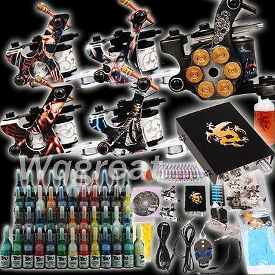 Complete Tattoo Kit 5 Machine Guns Set Equipment Power Supply 54 Color Inks D179 on Rummage