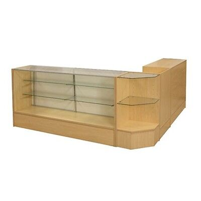 Sccombo-m Showcase Glass Display Case Check Out Counter Set Brand New