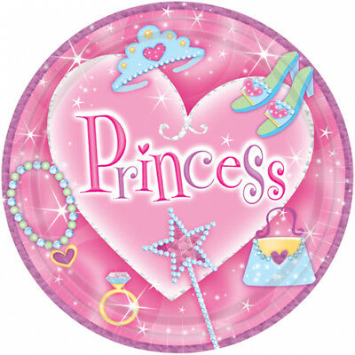 PRINCESS SMALL PAPER PLATES (8) ~ Birthday Party Supplies Cake Dessert Pink Girl