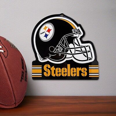 NFL  Pittsburgh Steelers Metal Helmet Sign  8 X 8  100% Die Cut Steel Nfl Steelers Helmet