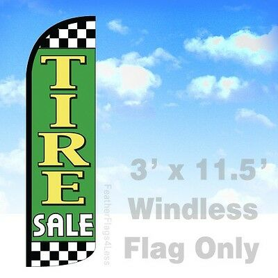 Tire Sale Windless Swooper Feather Flag Banner Sign 3x11.5 - Checkered Gq