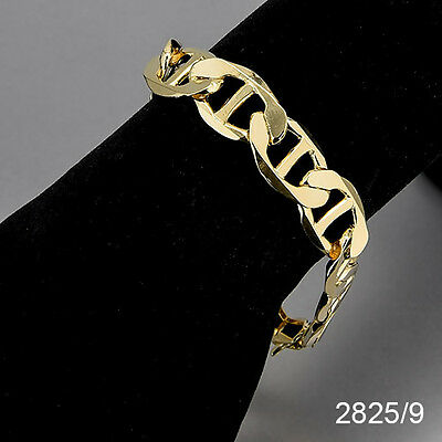 Men's 14K Yellow Gold Plated 9 Inches Chain Link Bracelet 13 mm   2825/9