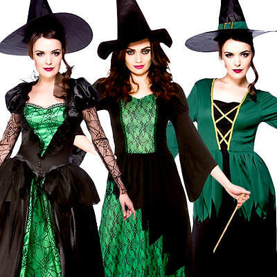 Green Witches Women Fancy Dress Halloween Fairytale Creepy Spooky Scary - Creepy Halloween Costumes For Women