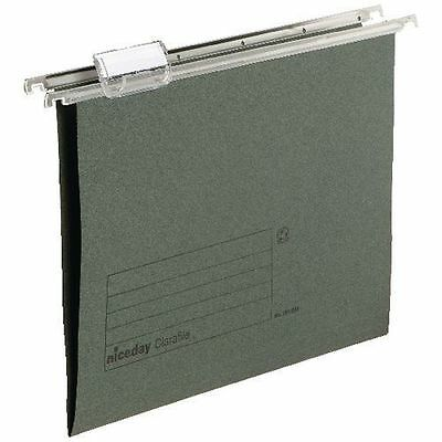 PACK OF 20 A4 HANGING SUSPENSION FILES GREEN TABS INSERTS FILING CABINET FOLDER