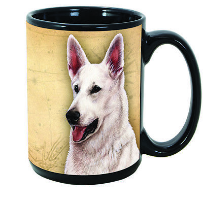 German Shepherd White Faithful Friends Dog Breed 15oz Coffee Mug Cup