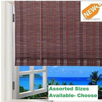 Bamboo Window Shade Roll Up Blind Natural Roman indoor Outdo