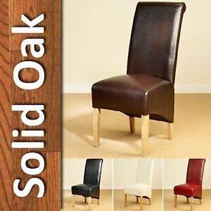 6 cuir chaise salle manger rouleau dossier haut ch ne for Chaise haut dossier salle a manger