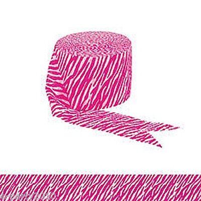 ZEBRA PINK & WHITE STREAMER DECORATIONS ~ Bridal Shower Birthday Party Supplies - Zebra Party Decorations