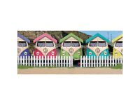 VW Van and Beach Hut Canvas Picture