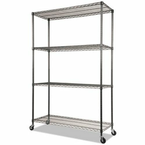 Alera Complete Wire Shelving Unit with Casters, 4-Shelf, Black (ALESW604818BA)