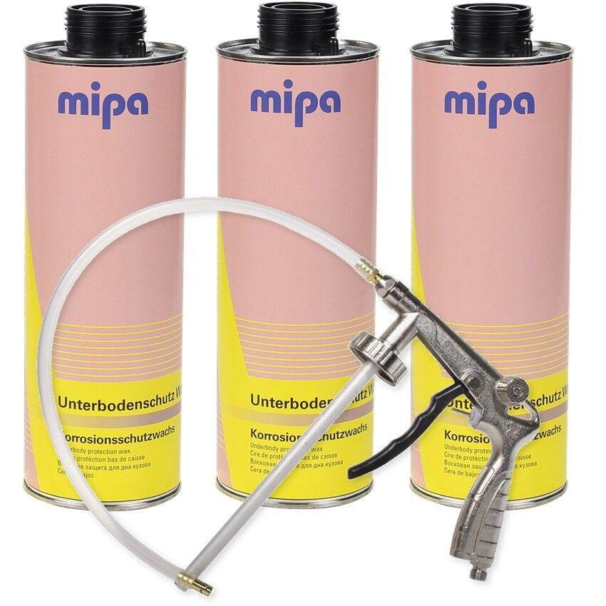 Mipa UBS Set 3x Wachs Unterbodenschutz Wax 1LDruckluft Unterbodenschutz Pistole