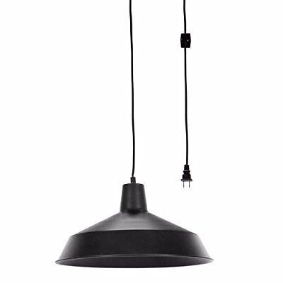 "Globe Electric Barnyard 1-Light 16"" Industrial Warehouse Plug-In Pendant, Black"